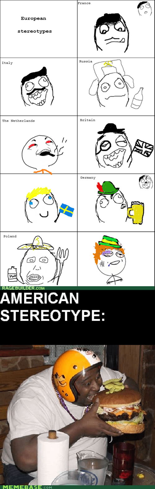 america,burgers,Rage Comics,stereotypes