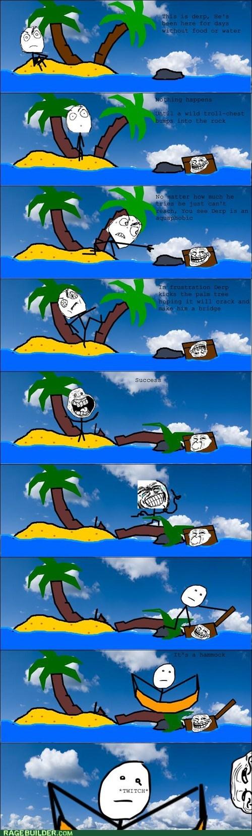 desert island hammock Rage Comics tree - 6119740928
