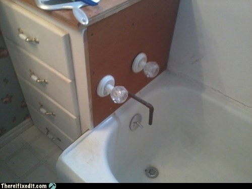 bathroom bathtub drawer hot and cold nozzles plumbing