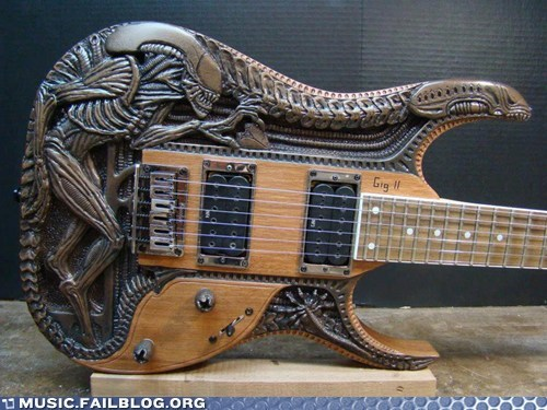alien awesome axes carved g rated guitar Music FAILS