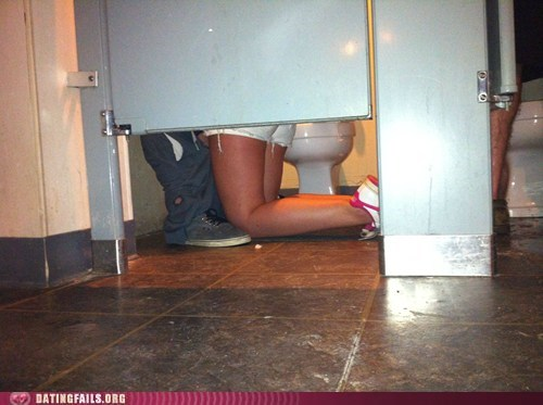 low hug on her knees public restroom - 6120833792