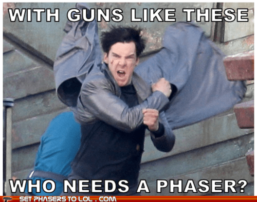 arms,benedict cumberbatch,flex,guns,JJ Abrams,muscles,phaser,Star Trek