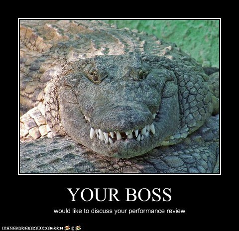 bosses,crocodile,crocodiles,discuss,evil,grin,performance review,scary,teeth,work
