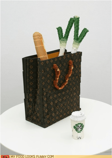 art,bag,bread,coffee,leeks,lego,sculpture,Starbucks