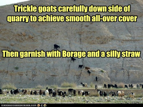 Trickle goats carefully down side of quarry to achieve smooth all-over cover Then garnish with Borage and a silly straw