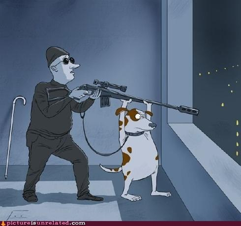 blind,seeing-eye dog,sniper,wtf