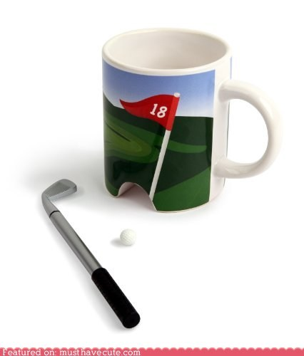 ball,ceramic,coffee,cup,golf,hole,miniature,mug,putter