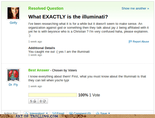 explain illuminati scary Yahoo Answer Fails - 6121423616