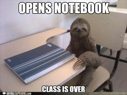 class,failing,notebook,over,school,sloth,slow,too late
