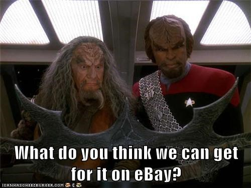 batleth ebay Michael Dorn money selling Star Trek TNG Worf - 6121610496