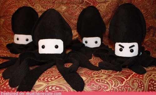 face,ninja,Plush,sneaky,soft,squid,toy