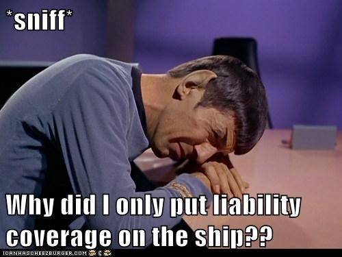 coverage crying hindsight-being-2020 insurance Leonard Nimoy liability ship Spock Star Trek - 6122269696