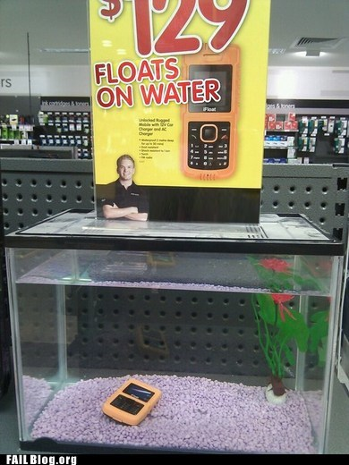 aquarium,cell phone case,FAIL,float,not as advertised,sink