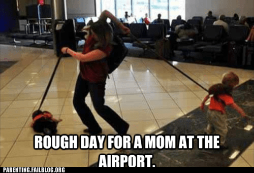 airport,baggage,kid on leash,mom