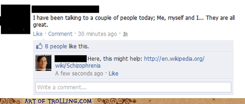 Awkward facebook schizophrenia talking to myself