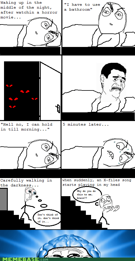 fear horror movie peetimes Rage Comics troll brain - 6123159552