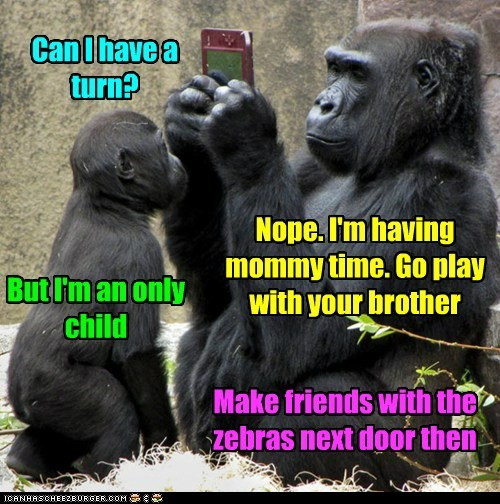 brother,busy,gorillas,moms,mothers day,nintendo ds,only child,parenting,turn,video games,zebras