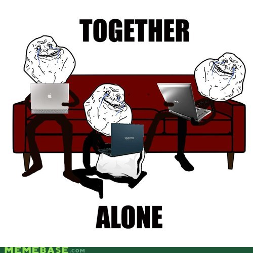couch forever alone friends laptop together - 6123791104