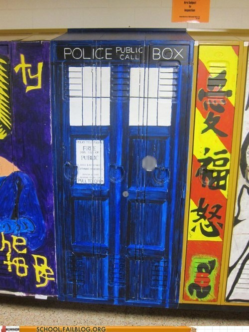 doctor who,g rated,lockers,police box,School of FAIL,tardis