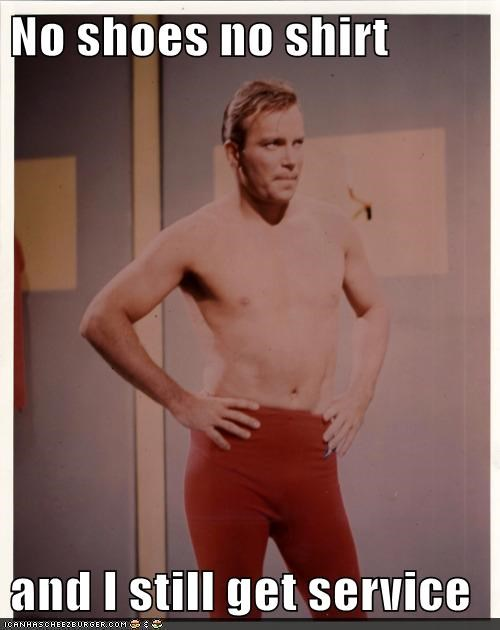 Badass Captain Kirk hot no shirt no shoes service Shatnerday Star Trek William Shatner