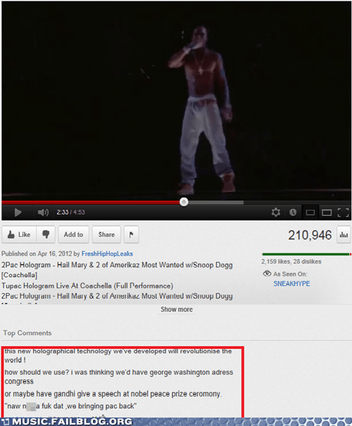 comments,hologram,rap,tupac,youtube,youtube comments