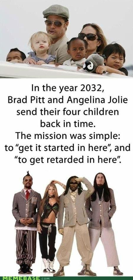 Angelina Jolie,black-eyed peas,brad pitt,classic,Memes,repost,time travel