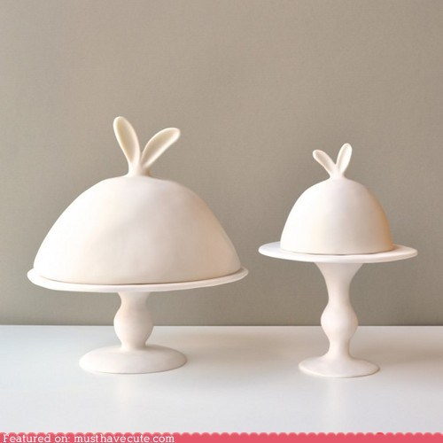 art bunny ceramic cloche dome ears functional sculpture - 6124698112