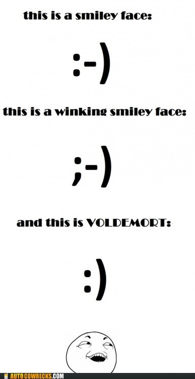 AutocoWrecks emoticons g rated Hall of Fame Harry Potter no nose voldemort