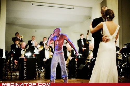 bride,dance,funny wedding photos,groom,hologram,tu-pac