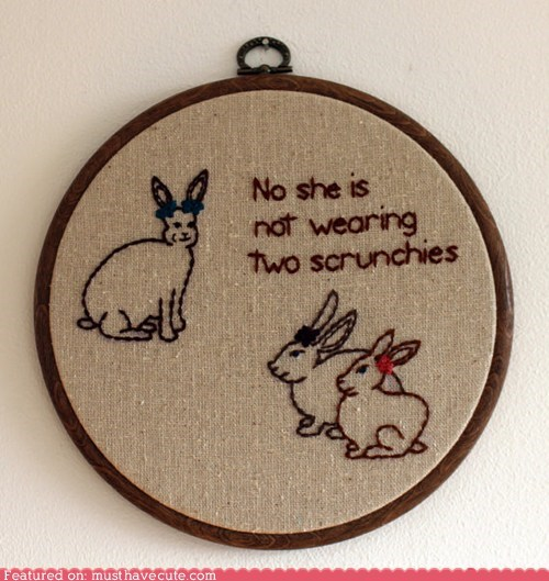art,bunnies,embroidery,hoop,scrunchies