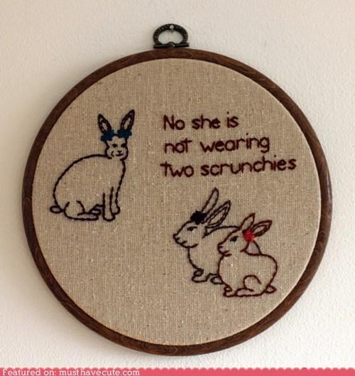 art bunnies embroidery hoop scrunchies