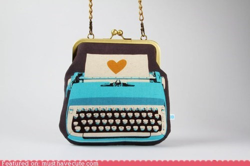 chain pouch print purse strap typewriter