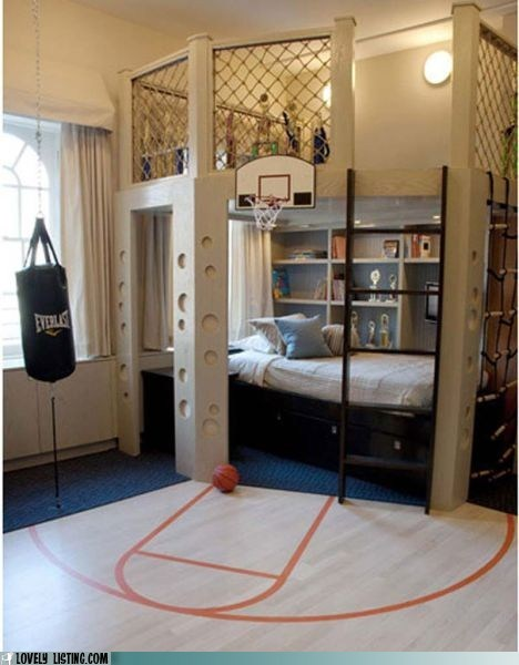 basketball,bedroom,climbing net,punching bag,sports