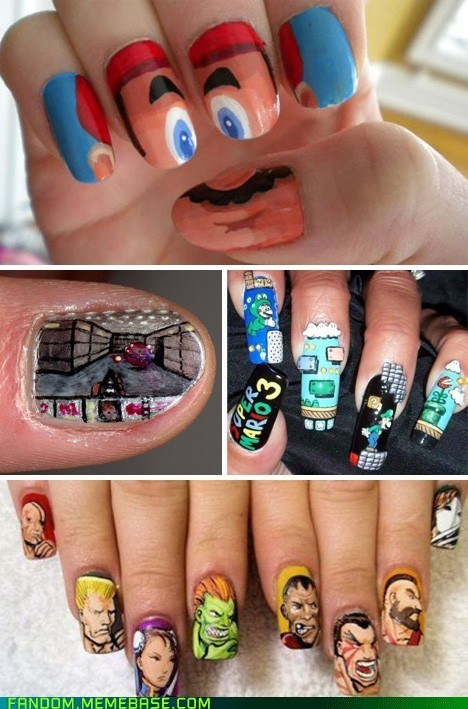 Fan Art nail art Street fighter Super Mario bros video games - 6125009152