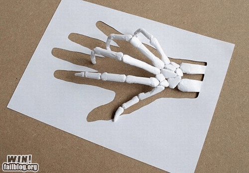 clever,design,paper,sculpture,skeleton