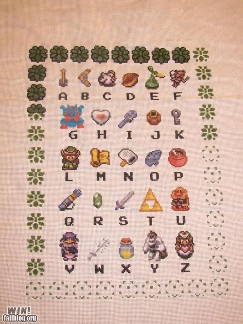 cross stitch,Knitta Please,nerdgasm,the legend of zelda,zelda
