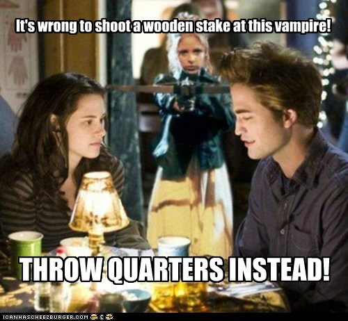 It's wrong to shoot a wooden stake at this vampire! THROW QUARTERS INSTEAD!