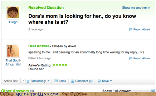 cartoons,diego,dora the explorer,TV,Yahoo Answer Fails
