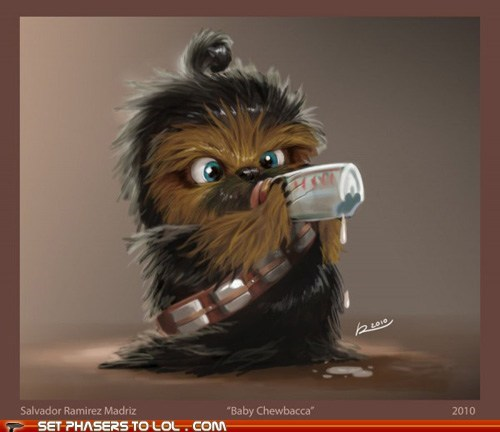 baby,best of the week,bottle,chewbacca,cute,Fan Art,star wars,wookie