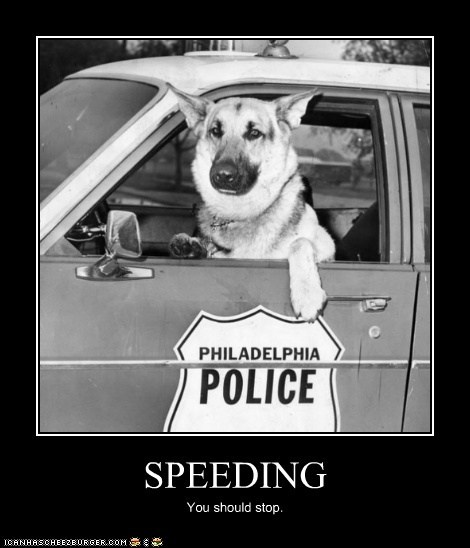 SPEEDING You should stop.