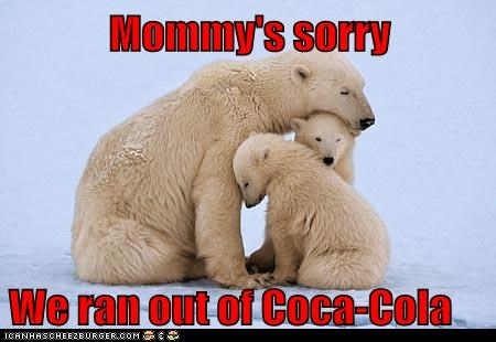 advertisements,coca cola,coke,crying,mommy,out,polar bear,polar bears,Sad,snow,sorry,tragedy