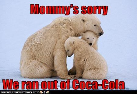 coca cola coke crying mommy out polar bear polar bears Sad snow sorry tragedy - 6126961408