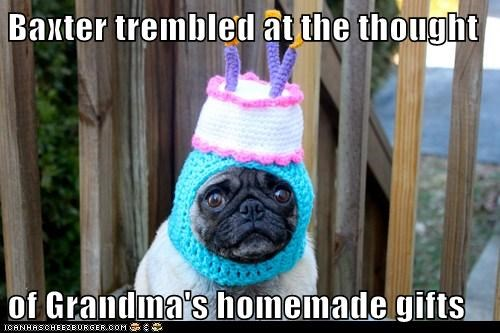 best of the week,birthday cake,do not want,dogs,dread,gift,gifts,grandma,Hall of Fame,hat,pug,pugs