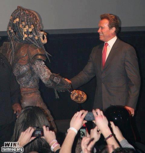 Arnold Schwarzenegger g rated handshake nerdgasm Predator win - 6127543808