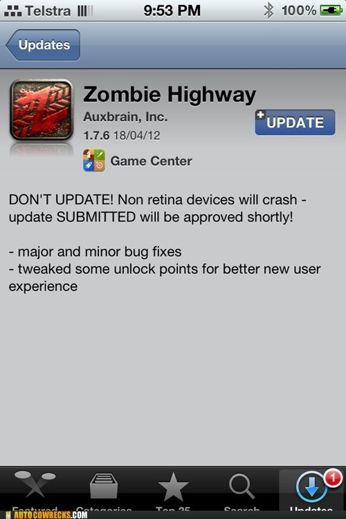 app store,dont-update,updates,zombie highway