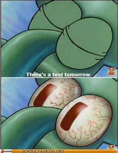 harrowing realizations sleeping SpongeBob SquarePants squidward test tomorrow - 6128664576