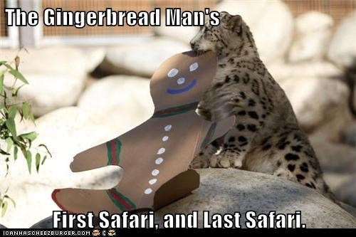 The Gingerbread Man's First Safari, and Last Safari.