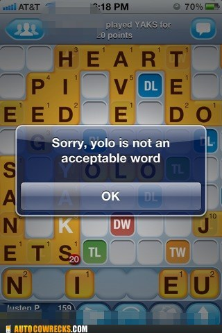Hall of Fame not an acceptable word Words With Friends yolo - 6129507584