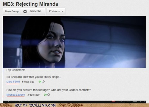 liara,mass effect,miranda,video games,youtube