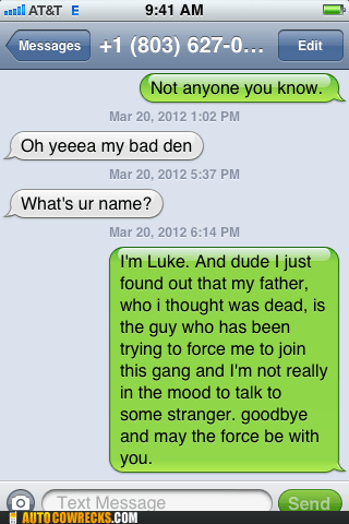 AutocoWrecks darth vader deadbeat dad g rated iPhones star wars wrong number - 6131944704